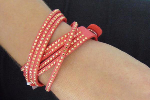 Peony Coral Red 2 Wrap Bracelet