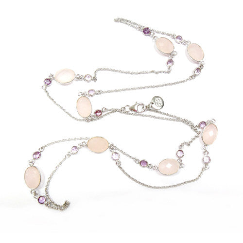 Rose Quartz Sterling Silver Connector Necklace