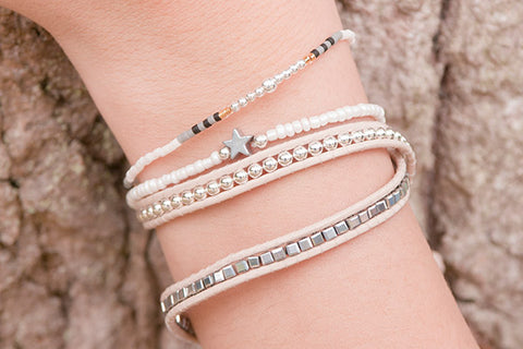 Polaris White Beaded Star Stretch Bracelet