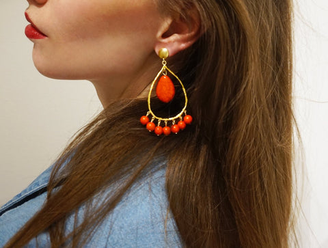 Polka Red Tear Drop Earrings