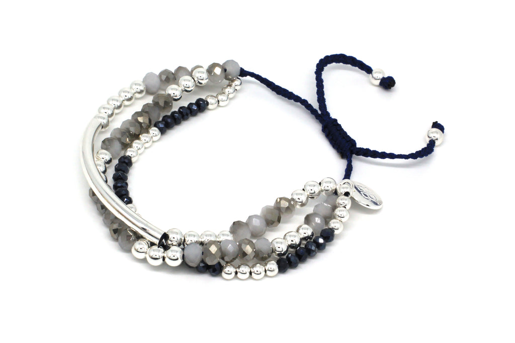 Dulcitar Three Strand Navy Crystal & Silver Friendship Bracelet