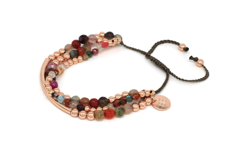 Domra Three Strand Multicolour Crystal Friendship Bracelet