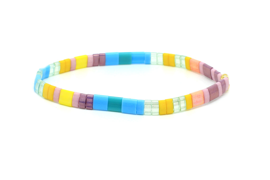 Raindrops Multicolour Tila Bead Stretch Bracelet