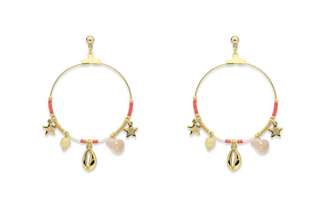 Pequi Coral & Gold Charm Hoop Earrings