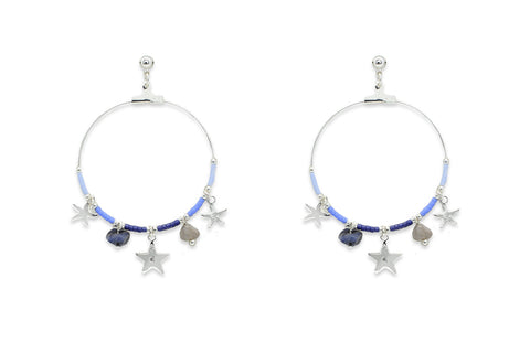 Pequi Blue & Silver Charm Hoop Earrings