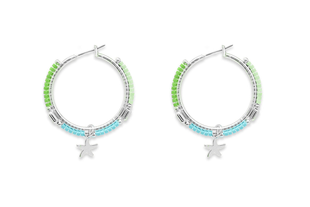 Nanche Mint Beaded Starfish Hoop Earrings