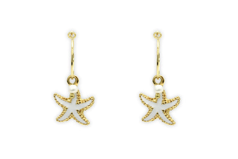 Clementine White Starfish Charm  Earrings