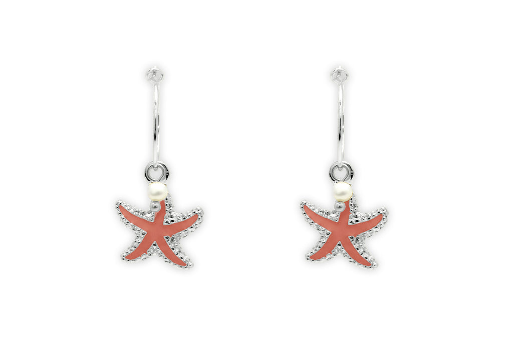 Clementine Coral Starfish Charm Earrings - Boho Betty