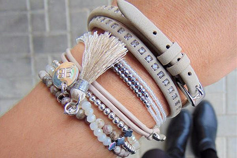 Scullers White Seed Bead & Silver Hematite Friendship Bracelet with Tassels