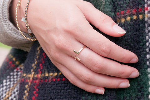 Shailene Gold on Sterling Silver Adjustable Ring