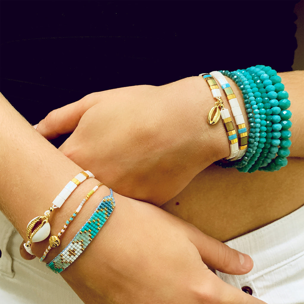 Shallon 6 Layered Blue Bracelet Stack - Boho Betty