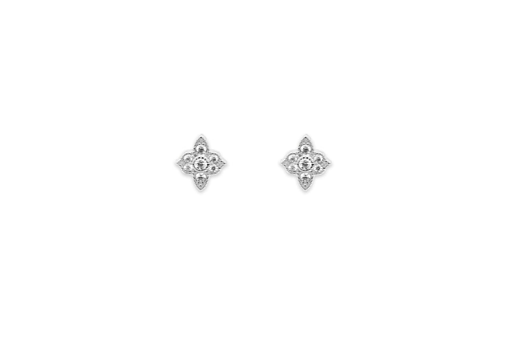 Takia Filigree CZ Silver Stud Earrings
