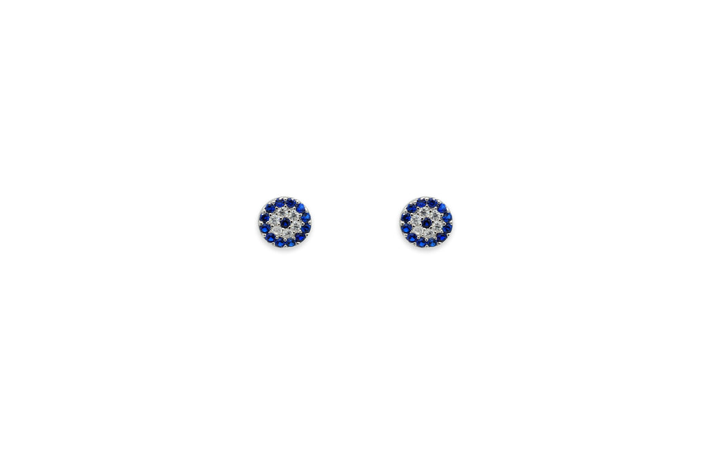 Ranaut Blue CZ Silver Stud Earrings - Boho Betty
