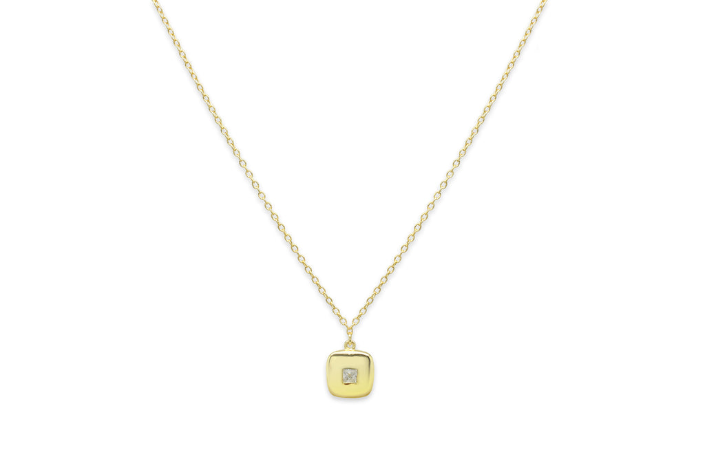 Cachaca Gold Square CZ Necklace