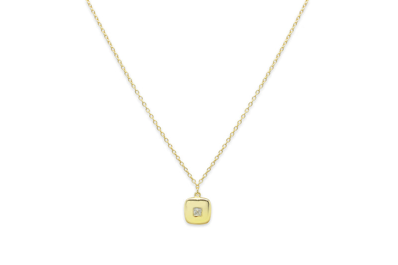 Cachaca Gold Square CZ Necklace - Boho Betty