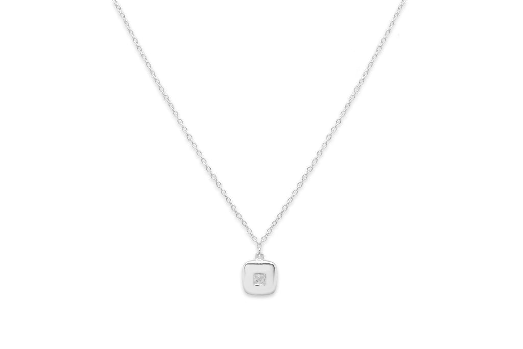 Cachaca Silver Square CZ Necklace