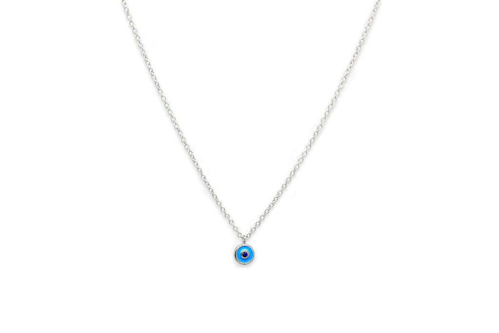 Liqueur Silver Blue Disc Necklace