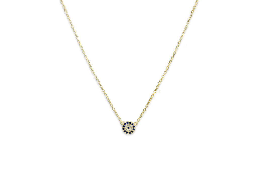 Marnier Gold Blue Disc Necklace