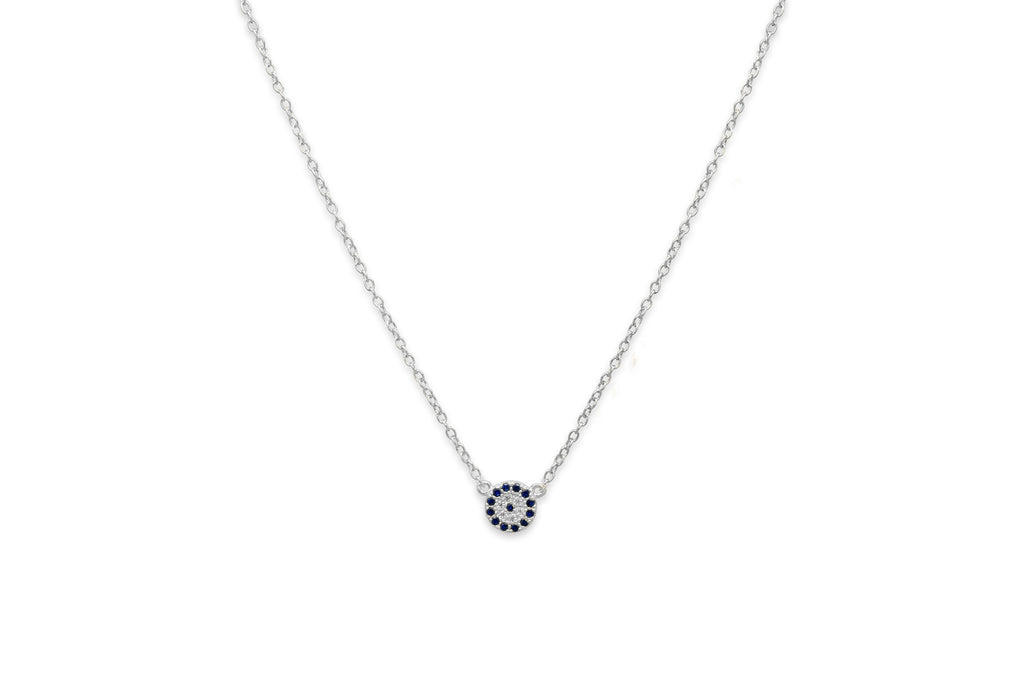 Marnier Silver Blue Disc Necklace