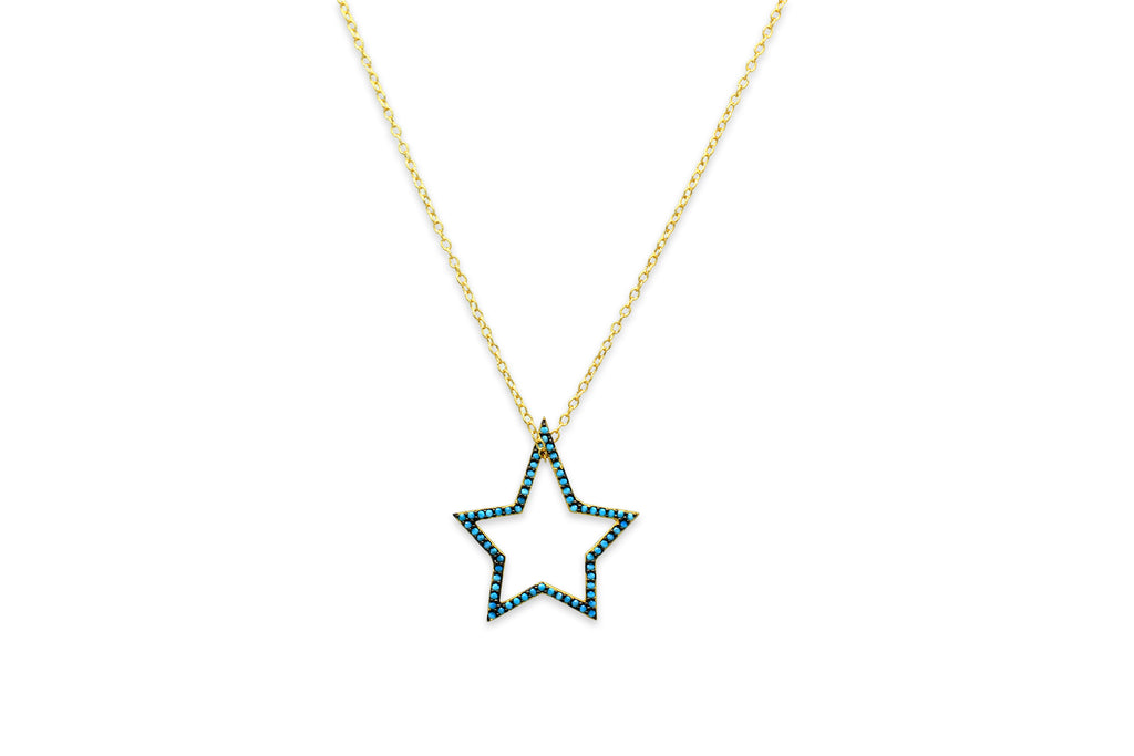 Sake Gold Blue Star Necklace - Boho Betty