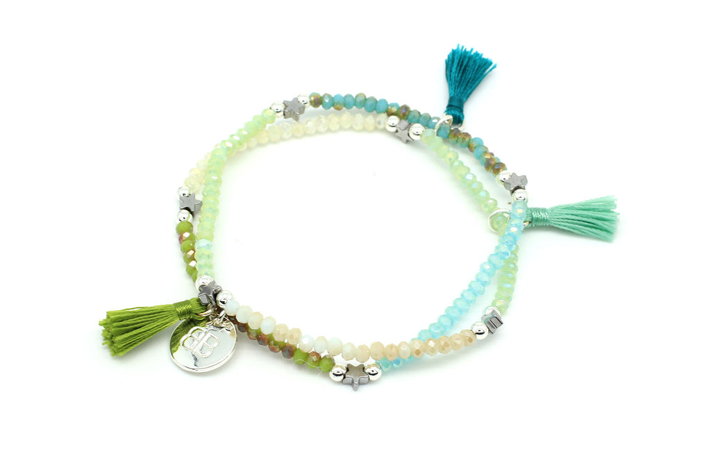 Scilla Mint Green Tassel Stretch Wrap Bracelet