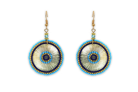 Sousta Blue Circular Beaded Earrings