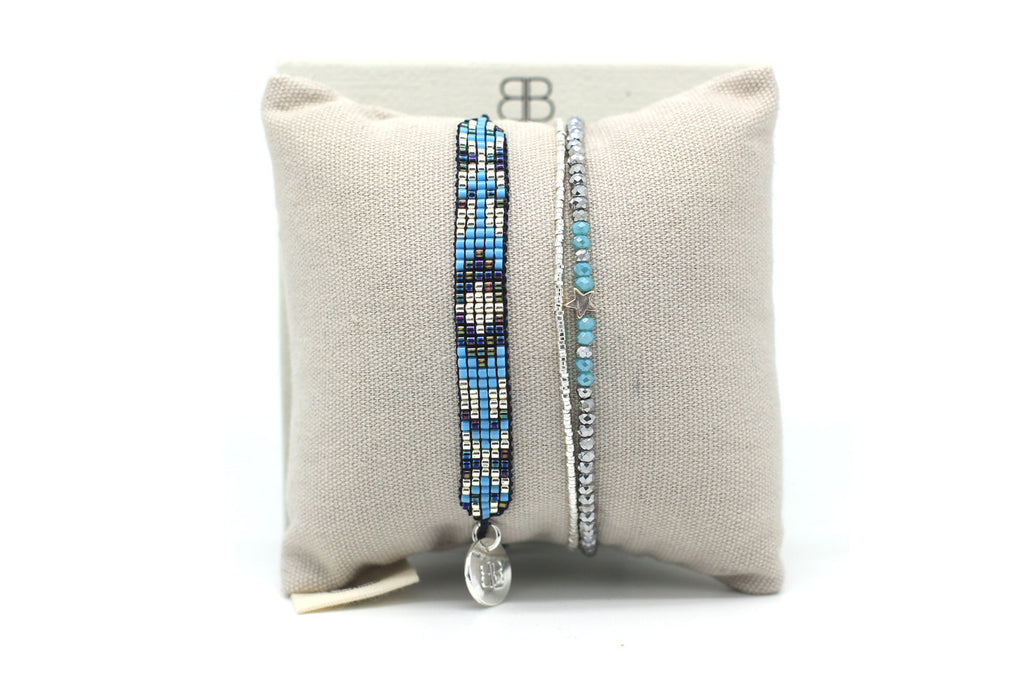 Aquarius 2 Layered Blue Bracelet Stack