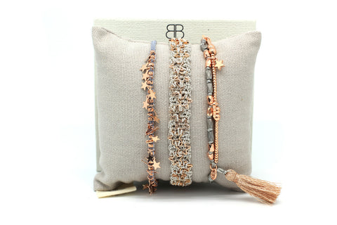 Oboe Rose Gold 2 Strand Star Friendship Bracelet