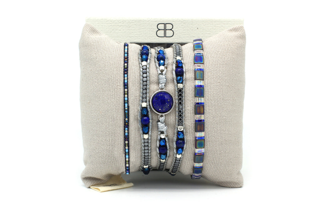 Gemini 3 Layered Blue Bracelet Stack