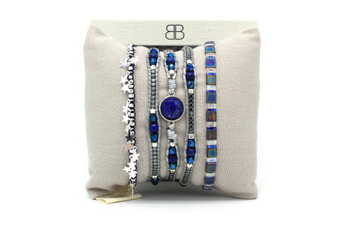 Dorado 3 Layered Blue Bracelet Stack
