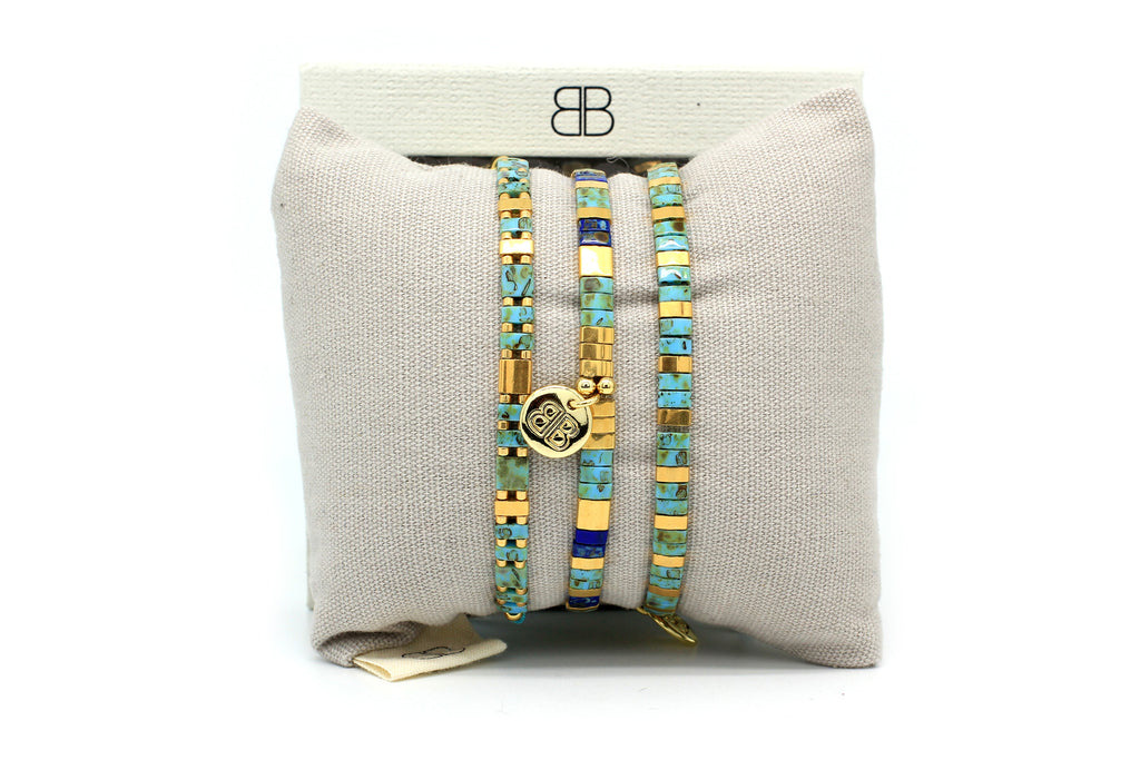 Fairytale 3 Layered Teal Tila Bracelet Stack - Boho Betty