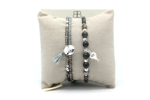 Masada 2 Layered Grey Bracelet Stack