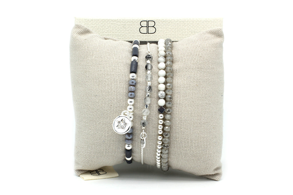 Berenices 3 Layered Grey Bracelet Stack