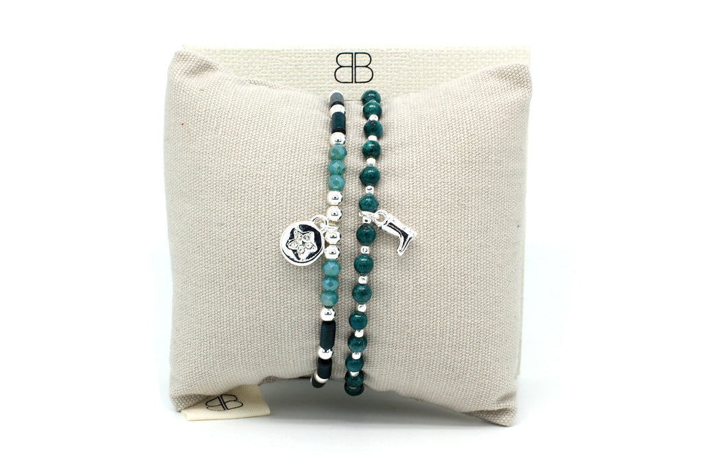 Peyto 2 Layered Teal Bracelet Stack