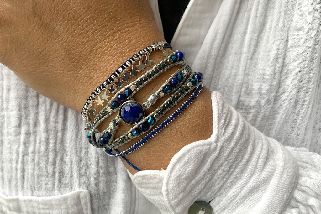 Philidelphia Blue 3 Layered Bracelet Stack
