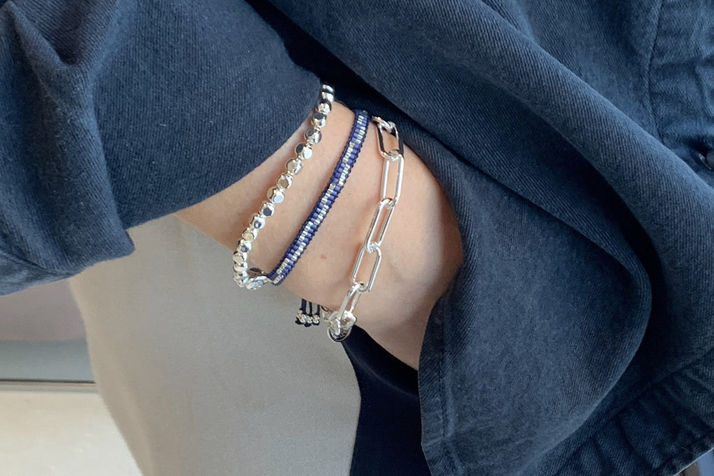 Batam Silver 3 Layered Bracelet Stack - Boho Betty