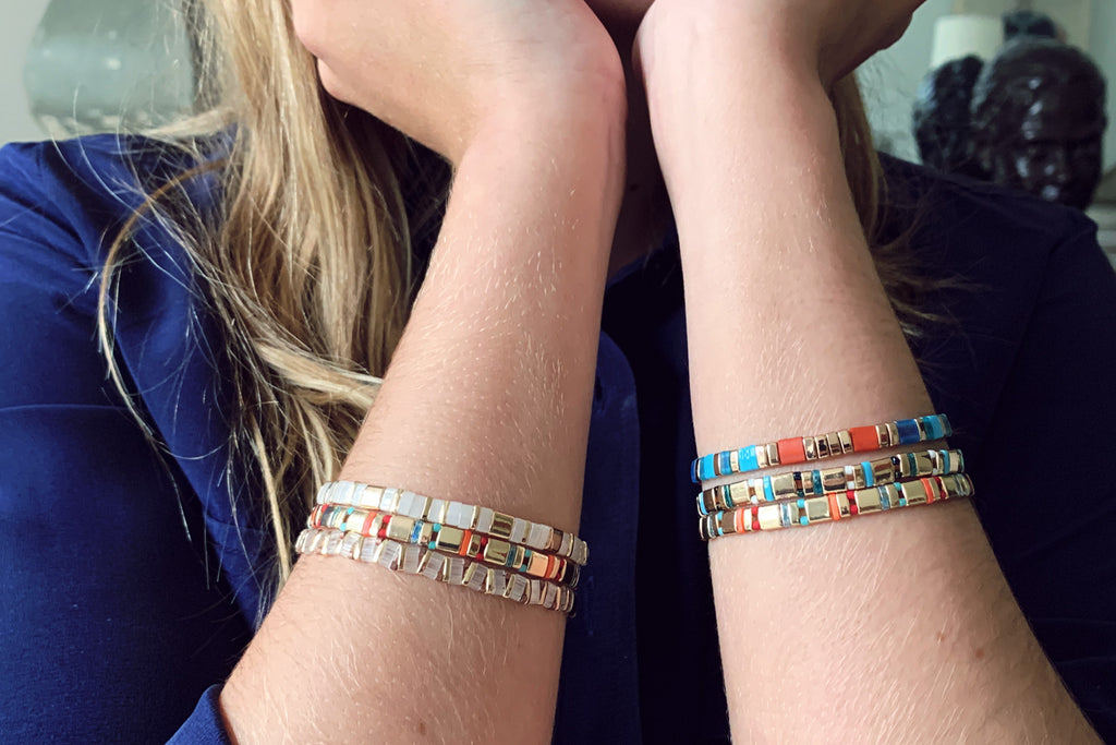 Caelum 3 Layered Tila Bracelet Stack - Boho Betty