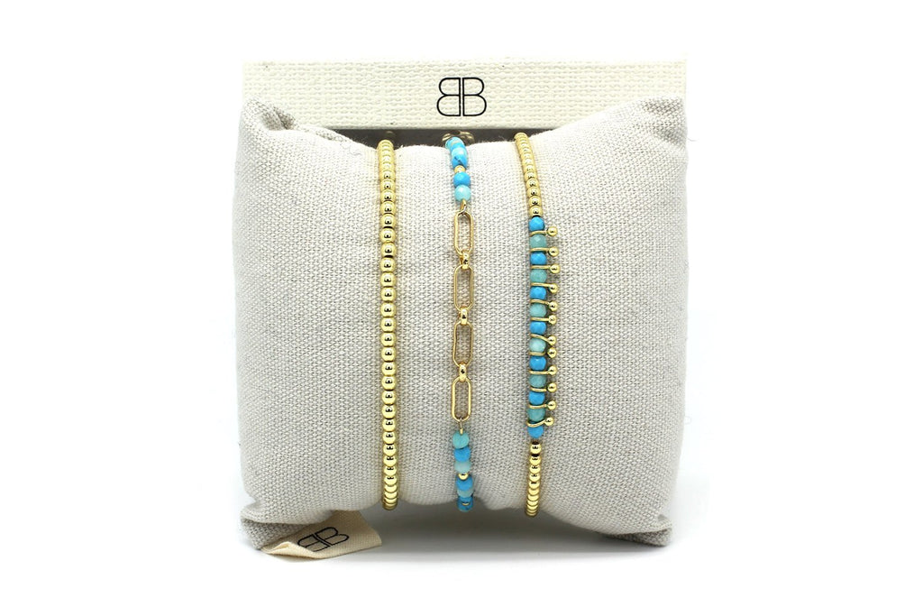 Catania Blue & Gold 3 Layered Bracelet Stack - Boho Betty