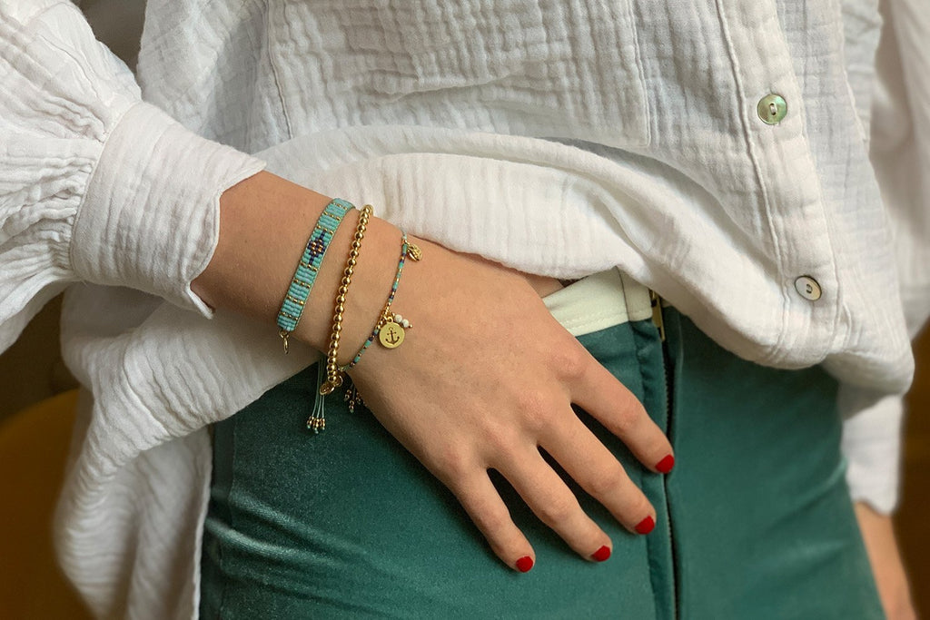 Curitiba 3 Blue & Gold Layered Bracelet Stack - Boho Betty