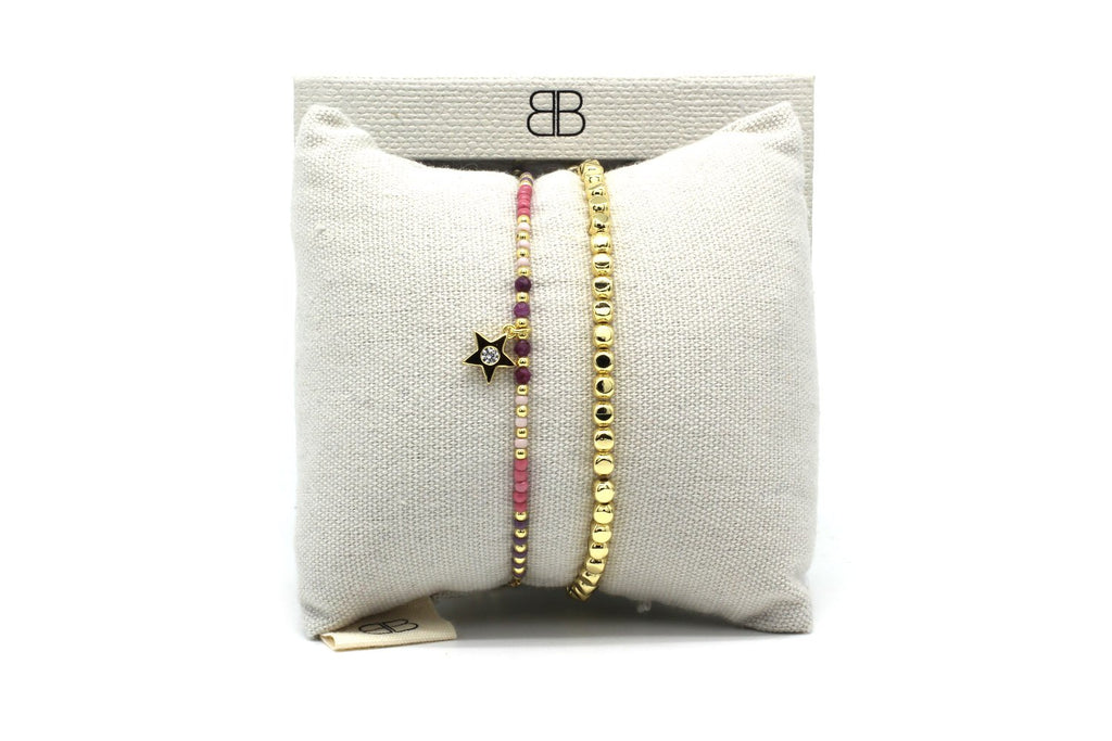 Luanda Pink 2 Layered Bracelet Stack - Boho Betty