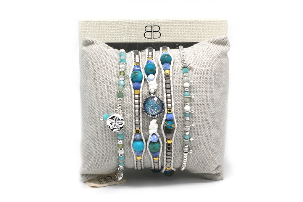 Esfahan 3 Layered Silver and Blue Bracelet Stack - Boho Betty