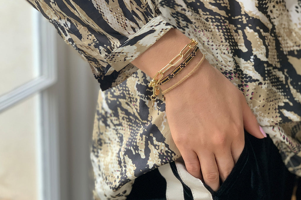 Geneva Tan 3 Layered Bracelet Stack - Boho Betty