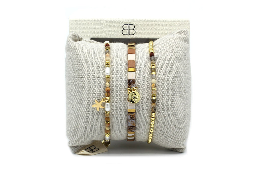 Harare 3 Gold Layered Bracelet Stack - Boho Betty