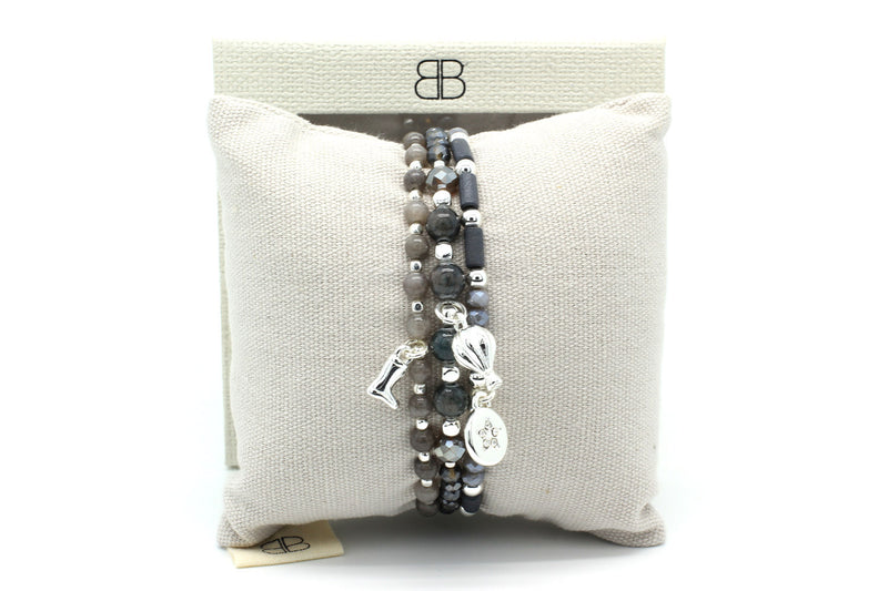 Tucana Grey 3 Layered Bracelet Stack