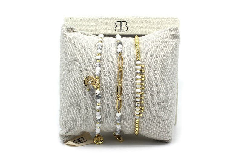 Inverness 3 White & Gold Layered Bracelet Stack - Boho Betty