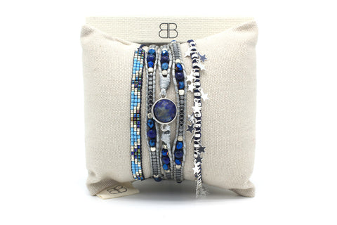 Maho 3 Layered Blue Bracelet Stack