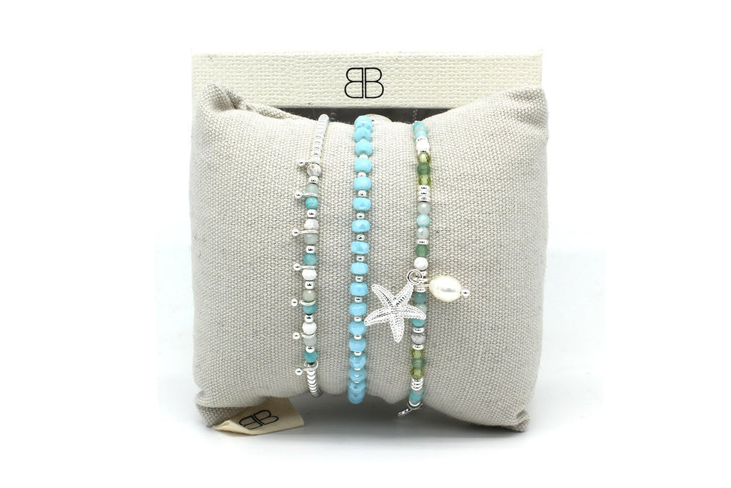 Mandalay 3 Silver & Blue Layered Bracelet Stack - Boho Betty