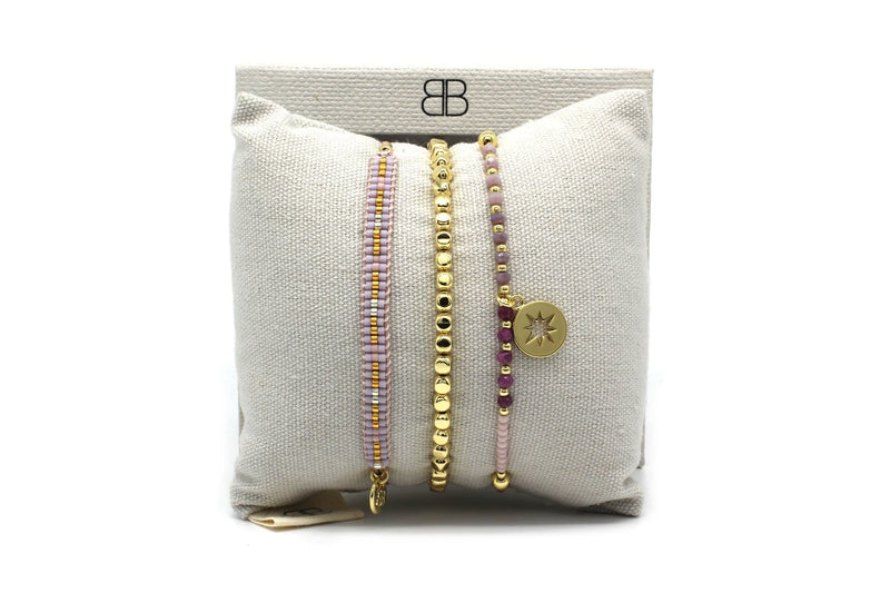 Pretoria Pink 3 Layered Bracelet Stack - Boho Betty