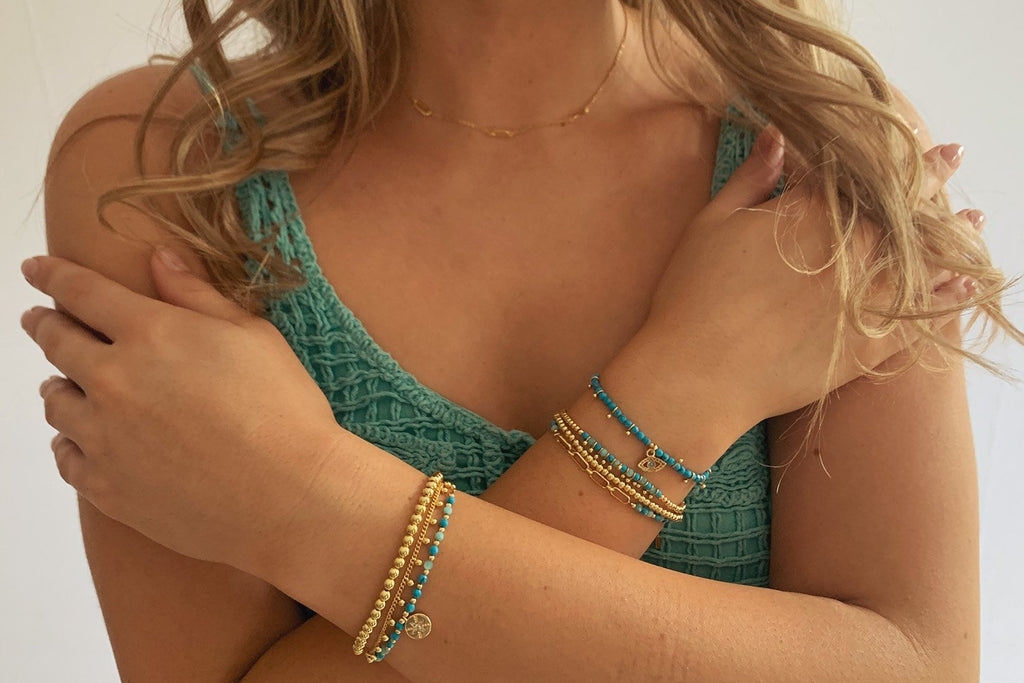 Corfu Blue & Gold 3 Layered Bracelet Stack - Boho Betty