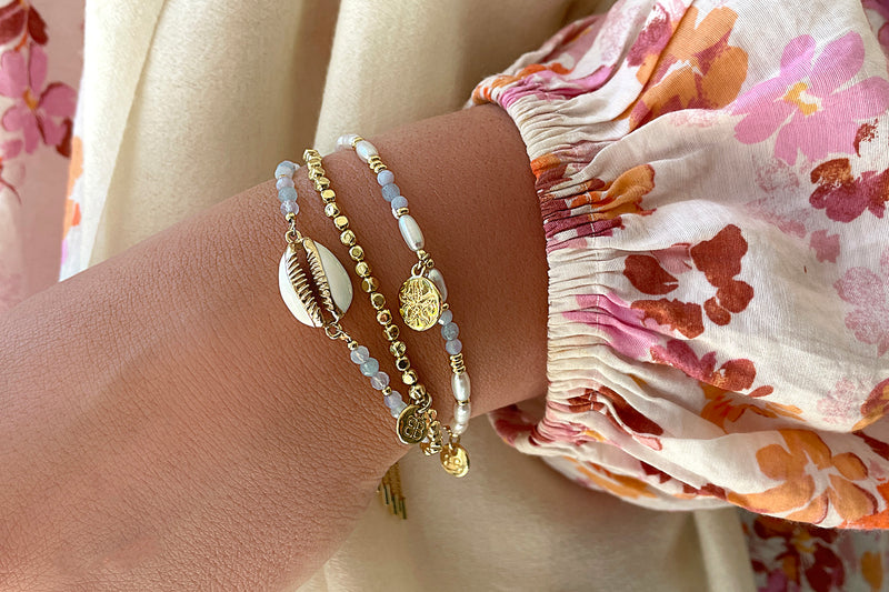Sanibel 3 Layered Pale Blue Bracelet Stack - Boho Betty